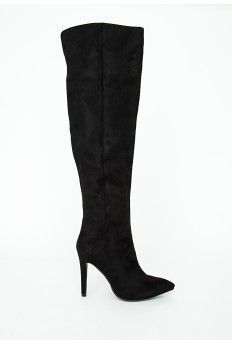 Kate Faux Suede Knee High Heeled Boots Black