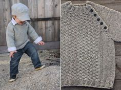 "Inspiration for a child's knit, pullover sweater (no pattern): ""Epipa's Gansey,"" a raglan sleeved, plain-knit wool sweater with a textured front panel and ribbed openings. Buttoned placket along the front-left shoulder's raglan line can open the neckline to facilitate outfit changes. Garment of knitter's own design, posted on epipa.blogspot.de, 31 Dec. 2013. Yes, monolinguists, the blog is in German, but at least on Safari 7.0.3, Google Translate seems to work quite well."