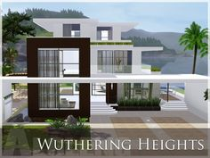 A 3 storey large modern theme home with 3 spacious bedroom, 2 toilet and baths, . A 3 storey large Sims 4 Modern House, Sims 4 House Design, Sims 4 House Plans, Sims 4 House Building, Lotes The Sims 4, Casas The Sims 4, Ocean House, Sims 4 Build, Wuthering Heights