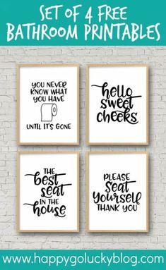 Set of 4 Free Bathroom Printables diy bathroom Set of 4 Printable Bathroom Signs Funny Bathroom Decor, Bathroom Humor, Bathroom Wall Decor, Bathroom Ideas, Bathroom Prints, Funny Bathroom Quotes, Pictures For Bathroom Walls, Bathroom Canvas, Art For The Bathroom
