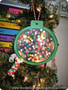 Doodle Bugs Teaching -Christmas Art Project - First Grade Classroom - Stained Glass Ornaments