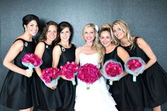 Not sure about the black bridesmaids dresses but love the bouquets Alfred Sung Bridesmaid Dresses, Bridesmaid Poses, Black Bridesmaids, Black Bridesmaid Dresses, Bridesmaid Hair, Wedding Images, Wedding Pics, Wedding Styles, Wedding Ideas