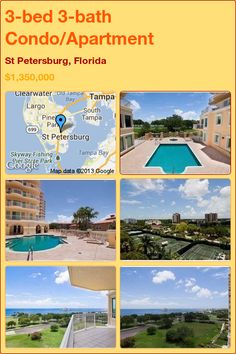 3-bed 3-bath Condo/Apartment in St Petersburg, Florida ►$1,350,000 #PropertyForSale #RealEstate #Florida http://florida-magic.com/properties/1271-condo-apartment-for-sale-in-st-petersburg-florida-with-3-bedroom-3-bathroom