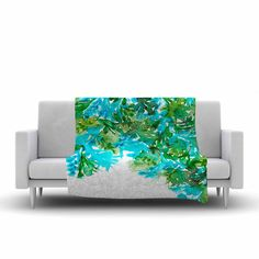 "Ebi Emporium ""Floral Cascade 8"" Teal Green Fleece Throw Blanket from KESS InHouse"