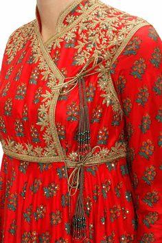 Rohit Bal - Red block printed angrakha style anarkali set available only at Pernia's Pop-Up Shop. Pakistani Frocks, Simple Pakistani Dresses, Pakistani Dress Design, Indian Dresses, Indian Outfits, Salwar Kameez, Churidar, Elegant Outfit, Elegant Dresses