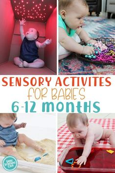 Sensory Activities Months Sensory Activities Months - Little Learning Club<br> A great list of senosry activites for babies, 6 months to 12 months. Edible sensory activities included, such as our famous baby sand. 6 Month Baby Activities, Baby Learning Activities, Infant Sensory Activities, Baby Sensory Play, Montessori Activities, Baby Play, Diy For Babies, Diy Sensory Toys For Babies, Baby Activites