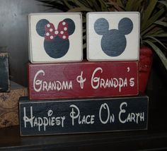 Happiest Place On Earth Grandma Grandpa Personalized Mickey Minne Mouse Primitive Wood Sign Blocks Distressed Stacking Blocks