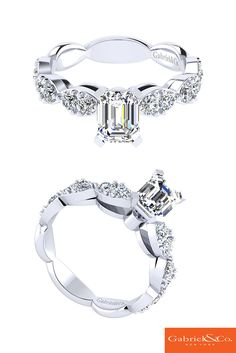 Beautiful 14k White Gold Diamond Straight Engagement Ring by Gabriel and Co. The…