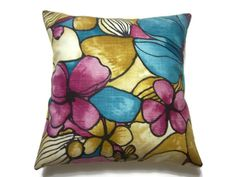Decorative Pillow Cover Turquoise Pink Fuchsia Golden Yellow Same Fabric Front/Back Throw Accent  Modern Floral Multicolored 18 x 18 inch x by LynnesThisandThat on Etsy https://www.etsy.com/listing/179514489/decorative-pillow-cover-turquoise-pink