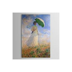 [$103.99] Famous Oil Painting Long Hair Lady with a Parasol go to Outing - Free Shipping