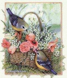birds gif animation for orkut graphics, images, quotes and e-cards to send to your friends Bird Pictures, Vintage Pictures, Vintage Images, Vintage Cards, Vintage Paper, Vintage Postcards, Decoupage Paper, Bird Prints, Bird Art