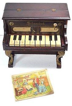 Rare Antique Schoenhut 10 Key Wooden Toy Piano With Original Instructor Works