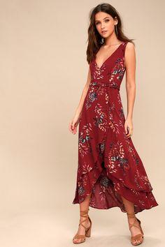 Amal Burgundy Floral Print Wrap Maxi Dress 1