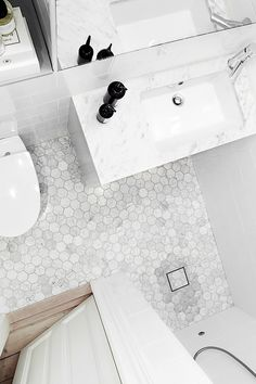 Hexagons in genuine Bianco Carrara marble. It is always in stock with us and fi . Relaxing Bathroom, Bathroom Spa, Bathroom Toilets, Bathroom Renos, White Bathroom, Small Bathroom, Bad Inspiration, Bathroom Inspiration, Interior Inspiration