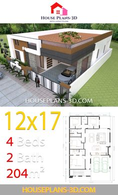 House design with 4 bedrooms Terrace roof - House Plans - Architecture Simple House Plans, Simple House Design, House Front Design, Minimalist House Design, Modern House Design, House Layout Plans, 3d House Plans, Dream House Plans, House Layouts