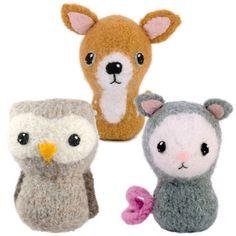 CraftyAlien® - Backyard Critters 4 Felted Knit Amigurumi Pattern: Owl, Deer & Opossum. $6.00