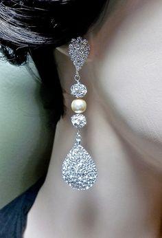 Sale Rhinestone earrings 3 Long Super by QueenMeJewelryLLC Bride Earrings, Rhinestone Earrings, Crystal Rhinestone, Statement Earrings, Women's Earrings, Wedding Jewelry, Jewelry Box, Jewelery, Vintage Jewelry