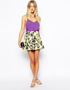 ASOS PETITE Skater Skirt In Quilted Floral Print