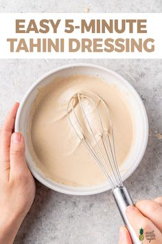 Learn how to make this easy and flavorful tahini dressing. It takes just 5 minutes to prepare and it can be used on just about anything! Plant Based Recipes, Veggie Recipes, Whole Food Recipes, How To Make Tahini, Tahini Salad Dressing, Healthy Eating Meal Plan, Vegan Sauces, Healthy Sauces, Healthy Foods