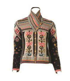 IVKO Balkan Black and Beige Jacquard Sweater with Shawl Collar - Small    EUR 36   1cd333ac2ea