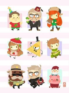 Grunkle Stan, Wendy, Mabel, Bill Cipher, Dipper, Sherrif Blubs, Ford, Waddles, gnome, chibi; Gravity Falls