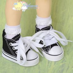 """Doll Shoes Ankle Cons Sneakers Boots Black for MSD BJD Kaye Wiggs 16"""" Sasha #Releaserain"""