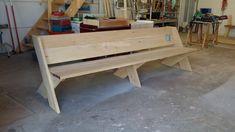 Tuinbank Cross   JohnnyBlue Wooden Pallet Furniture, Wooden Pallets, Furniture Projects, Diy Furniture, Outdoor Furniture, Leopold Bench, Outdoor Wood Projects, Outdoor Seating, Outdoor Decor