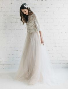 This gorgeous bohemian two-piece dress with a French lace top and tulle skirt. | 27 Completely Gorgeous Wedding Dresses You Can Order Online