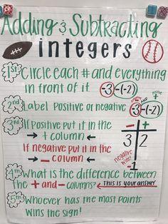 Adding and Subtracting Integers, grade math, grade math anchor charts, a. Math Tutor, Math Teacher, Math Classroom, Maths, Math Math, Adding And Subtracting Integers, Junior High Math, Sixth Grade Math, Homeschool