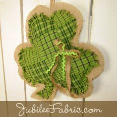 Cute burlap and homespun fabric clover shamrock door hanger hanging decor. Patchwork primitive St Patrick's Day!