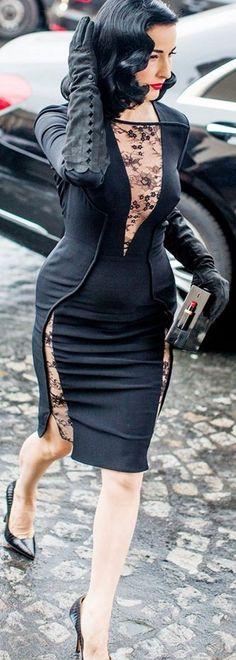 Dita Von Teese | Street Style: Spring 2015 Couture - Vogue #dita