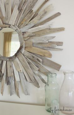 Driftwood Mirror DIY My friend Karan made one like this but it was huge--easy if you have the driftwood.