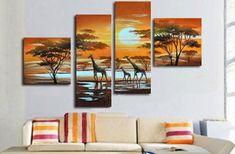Barato Parede 4131 pintado à mão 4 peça moderna óleo da paisagem na lona do sol africano girafa imagem para casa decoração, Compro Qualidade Pintura & caligrafia diretamente de fornecedores da China:        Transformar suas fotos em belas pinturas sobre tela            Nós podemos personalizar o seu fim, retrato