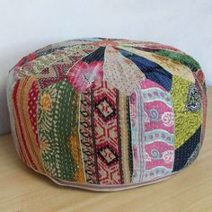 Vintage Pouf Ottoman Footstool Chair Hassock Decor Patchwork Embroidered Pouffe #Unbranded #Ethnic