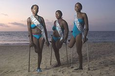 Not funny, but rather wonderful.   Miss Landmine is a beauty pageant for women disabled by landmines and other war-related injuries held in Angola. The pageant, created by Norwegian artist Morten Traavik, celebrates pride and empowerment over physical perfection.