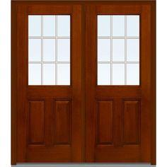 MMI Door 72 In. X 80 In. GBG Right Hand 1/2 Lite Clear 2 Panel Classic  Stained Fiberglass Mahogany Prehung Front Door