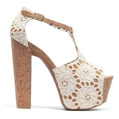 """Jessica Simpson """"Dany 4"""" Lace T-Strap Platform Pump, these shoes scream girly, maxi dress, summer, and sexy."""