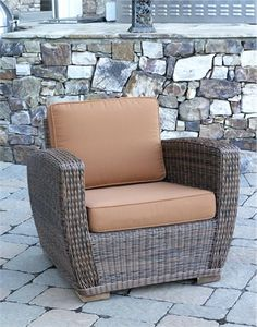 All Weather Wicker Chair Galveston is available in many @Sunbrella fabrics to compliment it's contemporary wicker style!