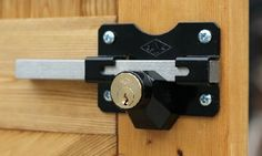 These gate locks feature a key both sides. Gate locks feature a stainless long-throw bolt that locks. Pallet Fence, Farm Fence, Fence Gate, Gate Locks, Door Locks, Bicycle Storage Shed, Building A Fence, Building Ideas, Window Security