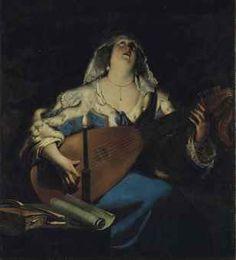 GÉRARD SEGHERS (ANVERS 1591-1651) Joueuse de luth huile sur toile, sans cadre 119 x 107,5 cm. (46 ¾ x 42 ¼ in.)