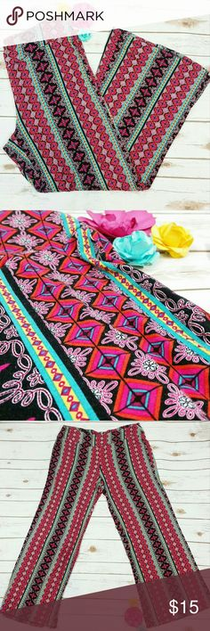 """Palazzo  patterned pants These pants are so soft! The pattern color is pink, orange, black, yellow, & turquoise. The elastic waist is approx 36"""", length is approx 41"""", width of leg is approx 24"""". All measurements taken unstretched. 95% rayon, 5% spandex Cato Pants"""