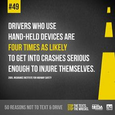 50 Reasons not to text and drive. Texting While Driving, Distracted Driving, Driving School, Drive Safe Quotes, Dont Text And Drive, I Am Scared, Text Messages, Losing Me, Texts