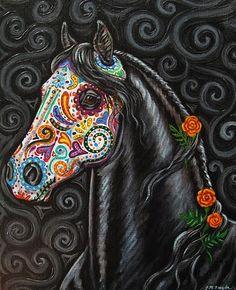 Caballo de los Muertos - Day of the Dead Horse Painting. #Day_of_the_Dead #horses #art