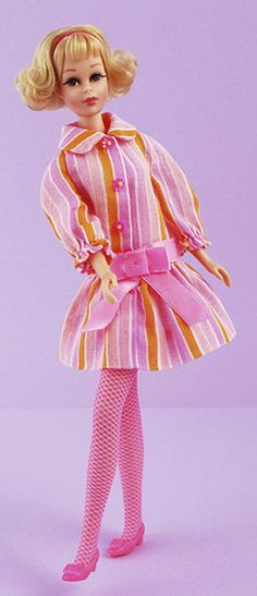 "Vintage Barbie Mattel ~ Twist & Turn Francie in # 1225 ""Snazzy"" fashion from 1969. Pink & orange striped dress with bold pink bow..."