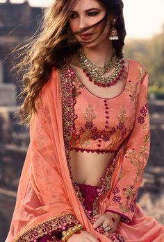 Magenta Heavy Embroidered Lehenga Choli full embroidered printed sleeves for partywear Lehenga Top, Pink Lehenga, Lehenga Choli, Sarees, Bridal Lehenga Collection, Punjabi Dress, Bollywood Actress Hot, Bodysuit Fashion, Traditional Dresses