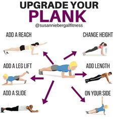 11 PLANK VARIATIONS - The basic plank hold is a great bodyweight exercise that will: build awesome looking abs, make functional every-day-life movements, help you build a strong core, help in every other lift you do. It's always good to have a strong foundation, so work up to a strong 60-120 second hold. After that, add some variations to get more bang-for-your-buck. Try one of these variations instead of holding a plank for what seems like forever. More bang-for-your-core buck
