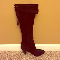 BCBG knee high boots Beautiful black BCGG suede knee high boot with fold over ruffle detail. Lace up tie with silver eyelets. Scuff on one heel, per picture. Worn once, great overall condition. BCBGeneration Shoes Over the Knee Boots