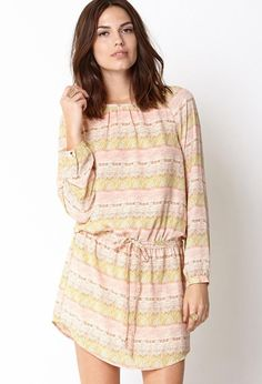 Love 21 - A multi-colored Georgette shift dress featuring a tribal print. Round neckline. Long sl...