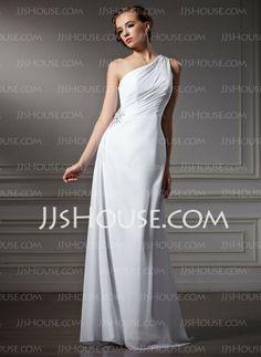 Wedding Dresses - $122.19 - Sheath/Column One-Shoulder Sweep Train Chiffon Wedding Dress With Ruffle Beadwork (002011746) http://jjshouse.com/Sheath-Column-One-Shoulder-Sweep-Train-Chiffon-Wedding-Dress-With-Ruffle-Beadwork-002011746-g11746