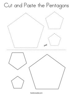 Cut and Paste the Pentagons Coloring Page - Twisty Noodle Pre K Worksheets, Shapes Worksheet Kindergarten, Preschool Shapes, Shapes Worksheets, Preschool Age, Letter P Activities, Class Activities, Pre Writing, Writing Skills